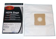 18 HEPA VACUUM BAGS DESIGNED TO FIT SIMPLICITY JACK & JILL VACUUMS. ALSO FITS RICCAR MOONLIGHT & SUNBURST VACUUMS. THIS LISTING IS FOR 3 PACKS EACH WITH 6 BAGS.THESE BAGS ARE THE BEST QUALITY REPLACEMENT HEPA FILTRATION BAGS AVAILABLE. HEPA BAGS HAVE 99.97% FILTRATION AND ARE A MUST FOR ANY ALLERGY