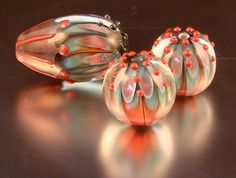 Glass Lampwork BeadsEncased Beads by LavaLampwork on Etsy