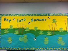 Bulletin boards for preschool School Welcome Bulletin Boards, Frog Bulletin Boards, Kindergarten Bulletin Boards, Summer Bulletin Boards, Interactive Bulletin Boards, Frog Theme Classroom, Teacher Boards, School Themes, Classroom Displays