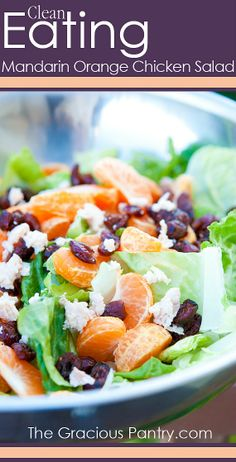 Mandarin Orange Chicken Salad with Dried Cranberries.