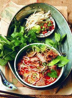 Bun Bo Hue (Beef and Pork spicy noodle soup) -Chef Bradley Borchardt Vietnamese Cuisine, Vietnamese Recipes, Asian Recipes, Healthy Recipes, Ethnic Recipes, Vietnamese Noodle, Chicken Laksa, Soup Recipes, Cooking Recipes