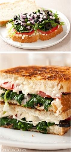 Mediterranean Grilled Cheese - feta, mozzarella, tomatoes, spinach, basil, garlic, red onion and olives!