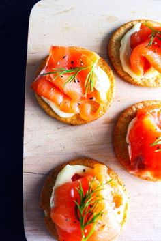Smoked Salmon and Cream Cheese Horderves. This is something we would eat. It looks really good!
