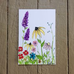 Items similar to Michigan Summer series, handpainted watercolor wild flower card on Etsy Watercolor Birthday Cards, Birthday Card Drawing, Watercolor And Ink, Watercolor Flowers, Watercolor Paintings, Watercolor Projects, Watercolor Sunflower, Art Flowers, Flowers Garden