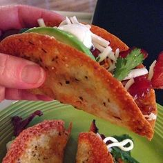 """Low Carb Provolone Taco Shells  Ingredients: Round Provolone Cheese slices (I bought mine at Costco) Garlic powder Mexican Spices  Oven 350 degrees  Place Parchment paper on a cookie sheet, spray with cooking spray.... Evenly space 3 slices of Provolone Cheese on the parchment.. Sprinkle lightly with garlic powder and Mexican spices.... I used a salt-free Mexican seasoning blend, from """"The Spice Hunter"""", bought at my local Co-op.....Bake for 10-11 minutes until color is right...Then, I…"""