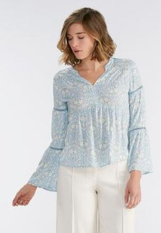 Cato Fashions Venetian Floral Henley Poet Top #CatoFashions