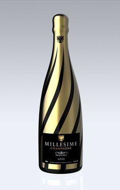 Millesime champagne packaging by Jerome Olivet Alcohol Bottles, Liquor Bottles, Wine Label Design, Bottle Design, Etiquette Champagne, Tequila, Expensive Champagne, Pinot Noir Wine, Wine Photography