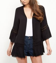 Black Crochet Trim Flutter Sleeve Kimono  | New Look