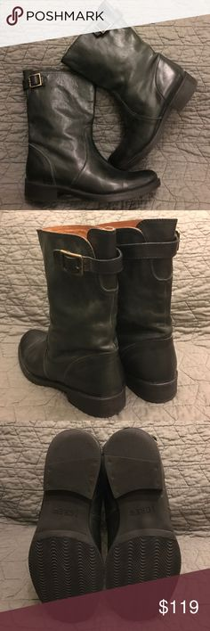 "J.Crew Vintage Short Roadster Boots Supple black leather J.Crew boots, style #19997 ""Vintage Short Roadster Boots"" size 8. Very similar to Frye ""Veronica"" boot. Sturdy slip on boot goes with virtually anything, pairs well with a swing dress and leggings for fall/winter! Worn once, practically brand new. (Just a little too big for me, perfect otherwise) Soles in tact as seen in 3rd photo. Adjustable buckle detail allows a loose or tight fit around ankle/calf. Heel height measures 1"". NOT…"