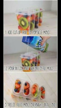 I'd probably puree some fruit and add a little coconut water (or regular water) to make these. Coconut water is just gross.