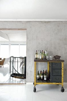 bar cart with a splash of yellow