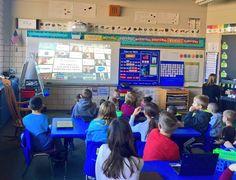 4th grade Ss helping with K Ss for #HourOfCode @CodeMonkeySTU @RiverviewSMFCSD #stowk4