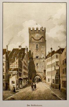 """MÜNCHEN. - Ruffiniturm. """"Der Ruffiniturm"""". Abschluss des Rindermarktes und der Sendlinger Gasse nahe dem Ruffinihaus; benannt nach dem Münchner Patriziergeschlecht Ruffini. Er wurde 1808 abgetragen.: - Peter Bierl Buch- & Kunstantiquariat"""