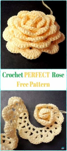 Perfect Crochet 3D Rose Flower Free Pattern