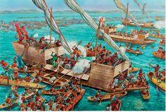 Spanish brigantines engaging Mexica canoes at Lake Texcoco on June 1521 Aztec Empire, Inca Empire, Conquistador, Aztec Culture, Medieval, Ship Drawing, Landsknecht, Age Of Empires, Aztec Art