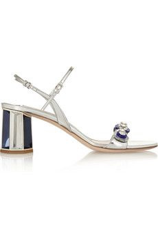 Miu Miu Embellished metallic leather sandals | NET-A-PORTER