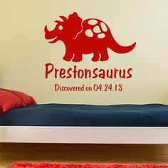 Dinosaur Name Decal, personalized Triceratops wall sticker, boys room decor…