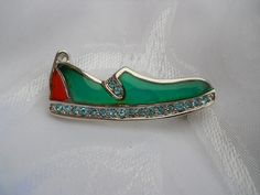 green stained glass shoe brooch by PerfectlyGoodStuff on Etsy, $12.00