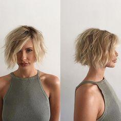 Short Side-Parted Blonde Shag