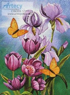 Irises and Tulips - Butterfly cross stitch pattern designed by Tereena Clarke. Category: Flowers.