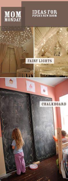 Chalkboard paint on sliding closet doors in the kids' bedroom - the chalk dust might drive me crazy, but it's a fun idea Kids Chalkboard, Chalkboard Paint, Blackboard Wall, Playroom Closet, Painted Closet, Little Green Notebook, Sliding Closet Doors, Wardrobe Doors, Kid Spaces