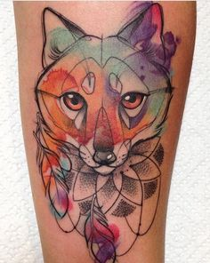 Aga Yadou watercolor fox tattoo