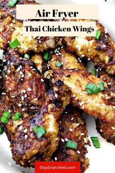 These Easy Thai Chicken Wings are seasoned with a dry rub and then baked to get them crispy. The wings are then drizzled in a sweet and spicy chili sauce and baked again to soak in the flavor. Baked Chicken Legs, Chicken Leg Recipes, Glazed Chicken, Breaded Chicken, Thai Chicken, Fried Wings Recipe, Air Fry Chicken Wings, Air Fry Recipes