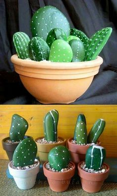 Easy DIY Stone cactus plant Mothers Day crafts kids can make. A great Summer garden gift idea you can do for Mom's, GrandMother, or Grauntie on a budget. Cactus Painting, Pebble Painting, Pebble Art, Stone Painting, Kids Crafts, Diy And Crafts, Craft Projects, Craft Ideas, Crafts At Home