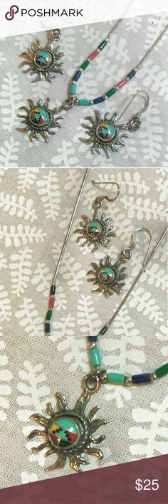 Southwest Sunburst Sterling Necklace Earring set Marked Sterling on back. Southwest/tribal sun design. 18 inch beaded wire necklace with silver & colored beads. Jewelry Necklaces