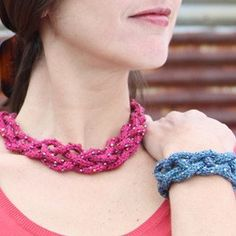 I like this, would make a great summer knitting accessory.     Knitted Jewelry | Nelkin Designs Soutache Beaded Knitting Kit