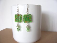 Sale green earrings Swarovski crystals millefiore by sydemcgus