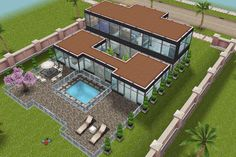 Inspiration for a modern build in Sims Freeplay.