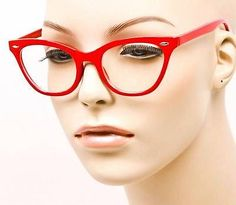 $14 SEXY Small Cat Eye Solid Red Nasty Hot Kitten Chic Eyeglasses Frames 1404 RED