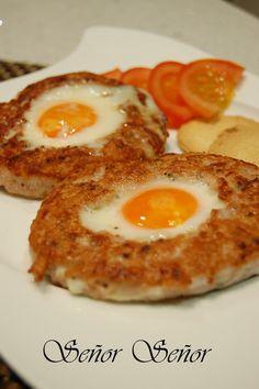 Hamburguesa rellena de huevo frito - Recetas de cocina fáciles paso a paso | Recetas del Señor Señor