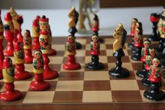 Vintage Original Hand Painted Chess Set, Chess Figures From USSR, Chess Board From East Berlin(DDR).  Beautiful Socialist Combination! (11) von SovietGallery auf Etsy