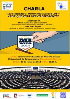 """Charla """"Las Elecciones al Parlamento Europeo 2014"""" ¿Por qué esta vez es diferente?"""