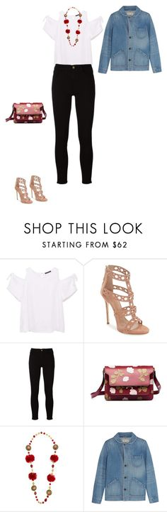 """Sans titre #7417"" by youngx ❤ liked on Polyvore featuring MANGO, Giuseppe Zanotti, Frame, Marni, Dolce&Gabbana and Madewell"