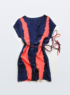 Coral & Navy blue hand painted silk dress, beautiful! #etsy #pinterest #dress