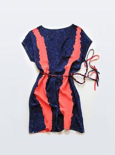 Coral & Navy blue hand painted silk dress, beautiful! #etsy #pinterest #dress