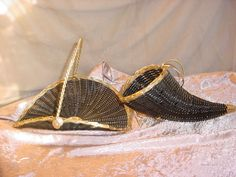Vtg Black Gold Cornucopia Basket Centerpiece Horn of Plenty SET of 2 Wicker  Seller florasgarden on ebay