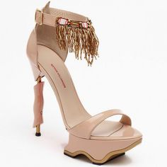 Matthew Williamson Neutral Fringe Ankle Strap Sandal Spring 2013 First Shoe Collection #Shoes #Heels