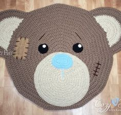 Bear Rug. Hand Crocheted.