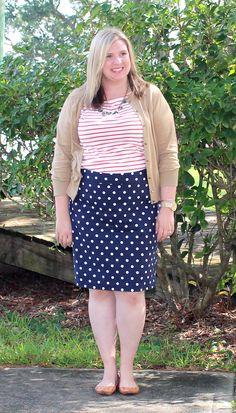 Teal and Polka Dots: Make it Work Monday: Orange Stripes and Navy Polka Dots