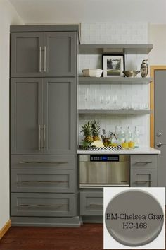 10 Timeless Grays for the Kitchen-Benjamin Moore/ Chelsea Gray. Designer/ Fiddlehead Design Group 10 Timeless Grays for the Kitchen-Benjamin Moore/ Chelsea Gray. Farmhouse Kitchen Cabinets, Kitchen Cabinet Colors, Kitchen Redo, Kitchen Colors, New Kitchen, Kitchen Pantry, Kitchen Ideas, Tall Kitchen Cabinets, Rustic Cabinets