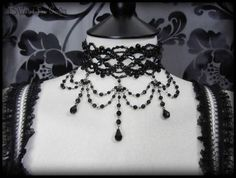 Black Beaded Gothic Victorian Choker Necklace Vampire Burlesque Moulin Rouge 4 | THE WILTED ROSE GARDEN on eBay // Worldwide Shipping Available