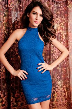 Racy Lace Dress Open-back Blue