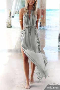 Make heads turn in this beach maxi dress. It is adorned with sleeveless, back lace-up, cut out and side split. Pair it with high heels. ==