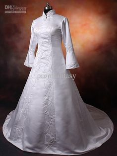 Specials Simple Embroidery White Arab Long Sleeve Muslim Wedding Dress From High-Ranking Online Seller Dailyspecialsdress Arabic Wedding Dresses, Muslim Wedding Dresses, Wedding Dresses For Sale, Muslim Hijab, Muslim Dress, Hijab Dress, Ready For Marriage, Simple Embroidery, Sister Wedding