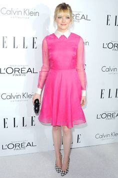 I <3 this outfit: strawberry blonde in a pink valentino dress with houndstooth shoes? shut up    Emma Stone Wore a Pink Valentino Dress [Updated] - The Cut