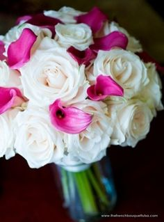 White roses w pink calla lilies